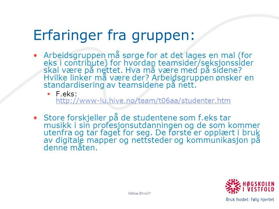 Mattias Øhra 07 Erfaringer fra gruppen: Arbeidsgruppen må sørge for at det lages en mal (for eks i contribute) for hvordan teamsider/seksjonssider skal være på nettet.