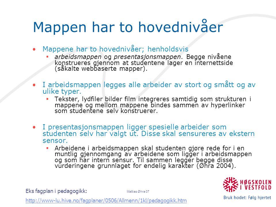 Mattias Øhra 07 Mappen har to hovednivåer Mappene har to hovednivåer; henholdsvis  arbeidsmappen og presentasjonsmappen.