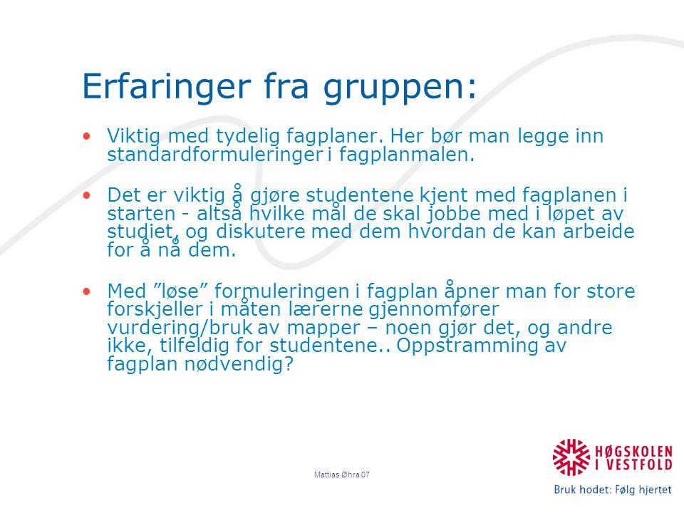 Mattias Øhra 07 Erfaringer fra gruppen: Viktig med tydelig fagplaner.