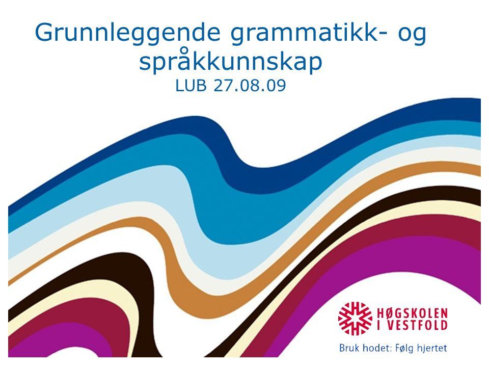 Grunnleggende grammatikk- og språkkunnskap LUB 27.08.09