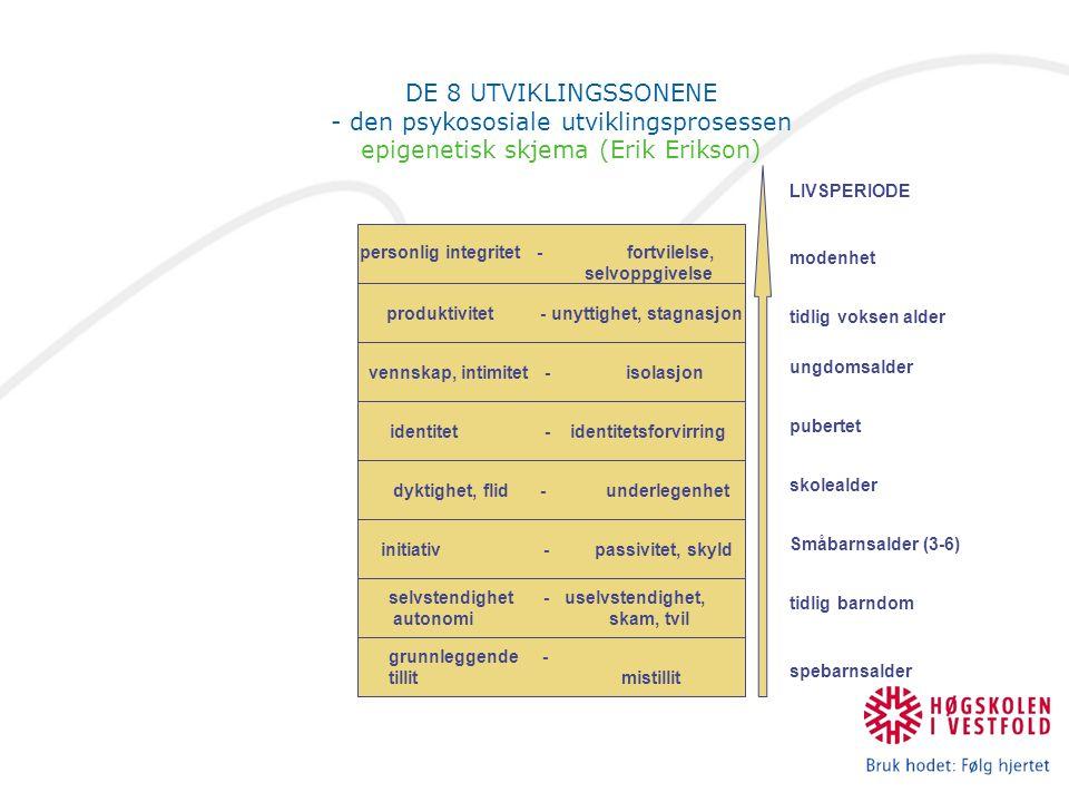 DE 8 UTVIKLINGSSONENE - den psykososiale utviklingsprosessen epigenetisk skjema (Erik Erikson) selvstendighet - uselvstendighet, autonomi skam, tvil i