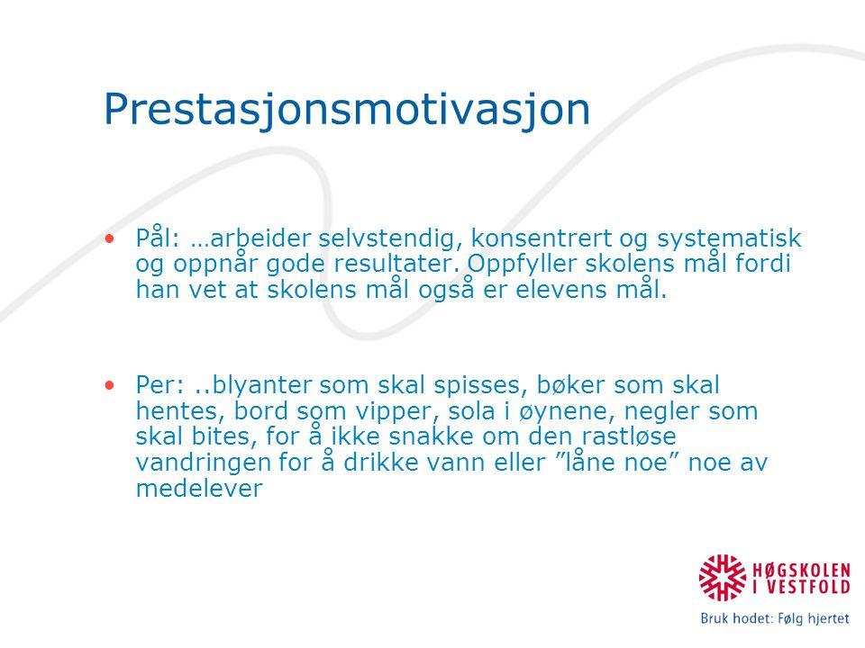 Prestasjonsmotivasjon Pål: …arbeider selvstendig, konsentrert og systematisk og oppnår gode resultater. Oppfyller skolens mål fordi han vet at skolens