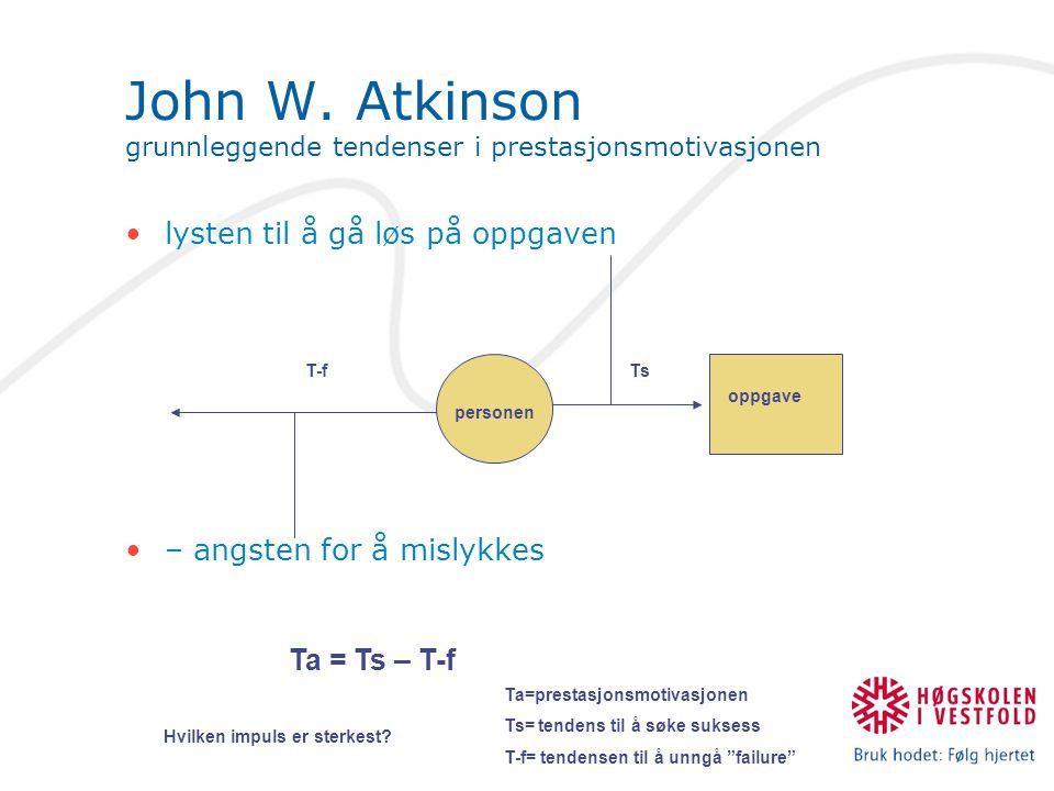 John W. Atkinson grunnleggende tendenser i prestasjonsmotivasjonen lysten til å gå løs på oppgaven – angsten for å mislykkes personen oppgave T-fTs Ta