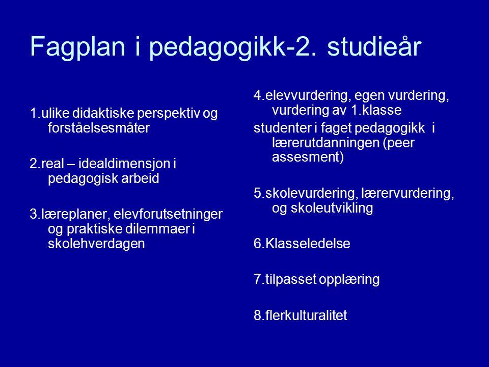 Fagplan i pedagogikk-2. studieår 1.ulike didaktiske perspektiv og forståelsesmåter 2.real – idealdimensjon i pedagogisk arbeid 3.læreplaner, elevforut