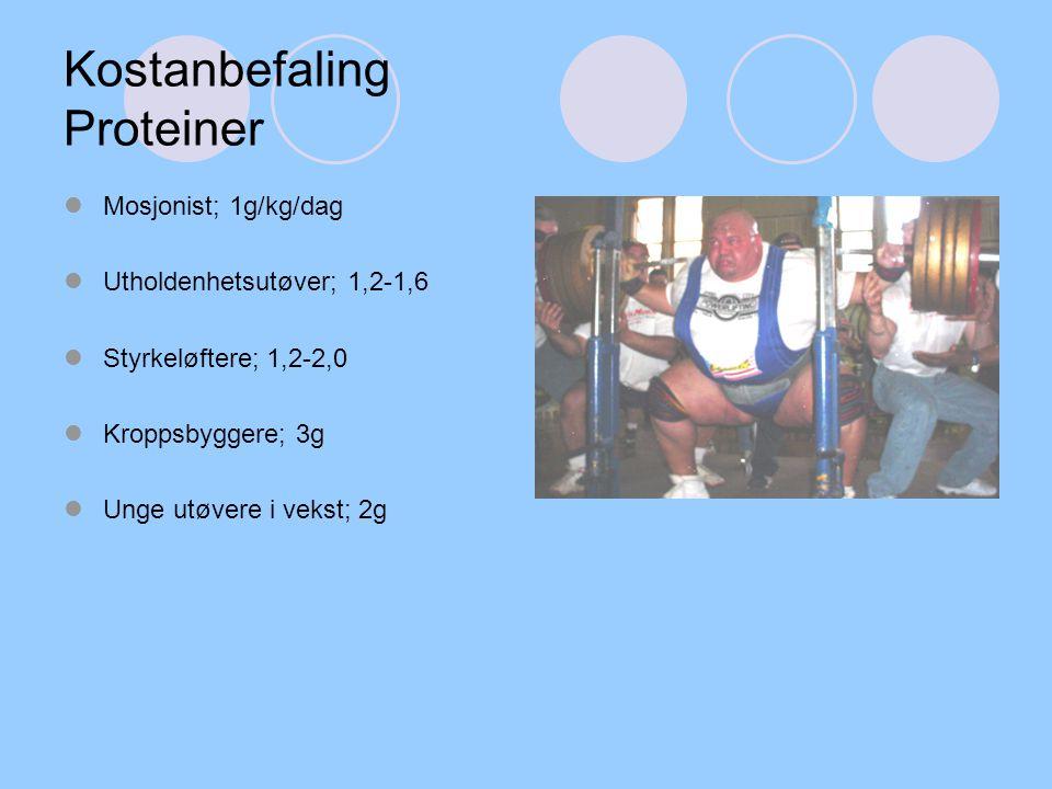 Kostanbefaling Proteiner Mosjonist; 1g/kg/dag Utholdenhetsutøver; 1,2-1,6 Styrkeløftere; 1,2-2,0 Kroppsbyggere; 3g Unge utøvere i vekst; 2g