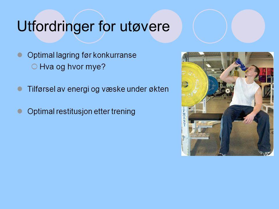 Utfordringer for utøvere Optimal lagring før konkurranse  Hva og hvor mye? Tilførsel av energi og væske under økten Optimal restitusjon etter trening
