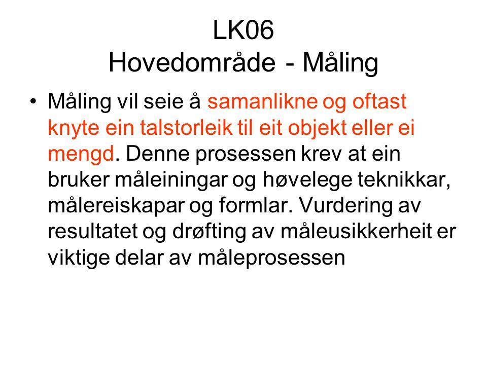 LK06 Hovedområde - Måling Måling vil seie å samanlikne og oftast knyte ein talstorleik til eit objekt eller ei mengd.