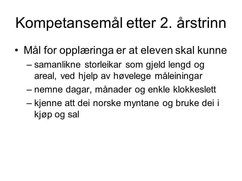 Kompetansemål etter 2.