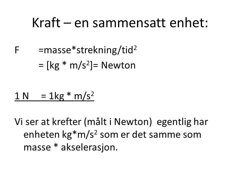 Kraft – en sammensatt enhet: F=masse*strekning/tid 2 = [kg * m/s 2 ]= Newton 1 N = 1kg * m/s 2 Vi ser at krefter (målt i Newton) egentlig har enheten