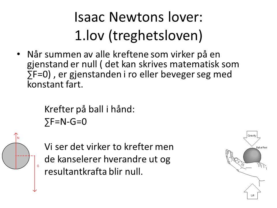 Isaac Newtons lover: 1.lov (treghetsloven) Når summen av alle kreftene som virker på en gjenstand er null ( det kan skrives matematisk som ∑F=0), er g