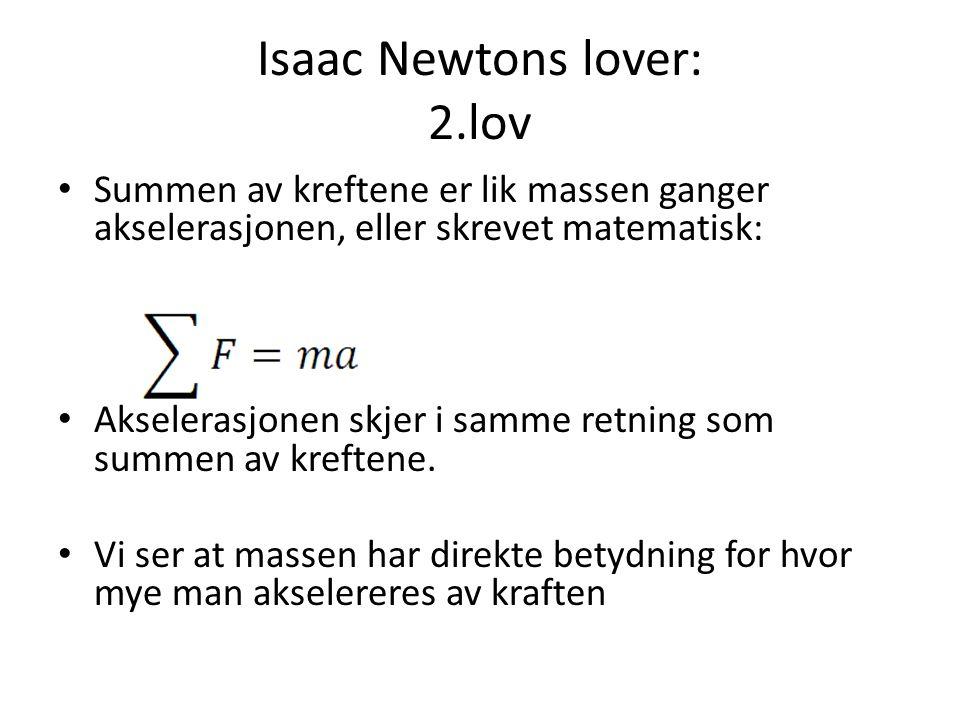 Isaac Newtons lover: 2.lov Summen av kreftene er lik massen ganger akselerasjonen, eller skrevet matematisk: Akselerasjonen skjer i samme retning som