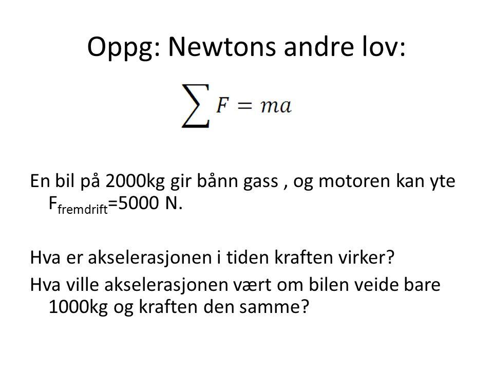 Oppg: Newtons andre lov: En bil på 2000kg gir bånn gass, og motoren kan yte F fremdrift =5000 N. Hva er akselerasjonen i tiden kraften virker? Hva vil