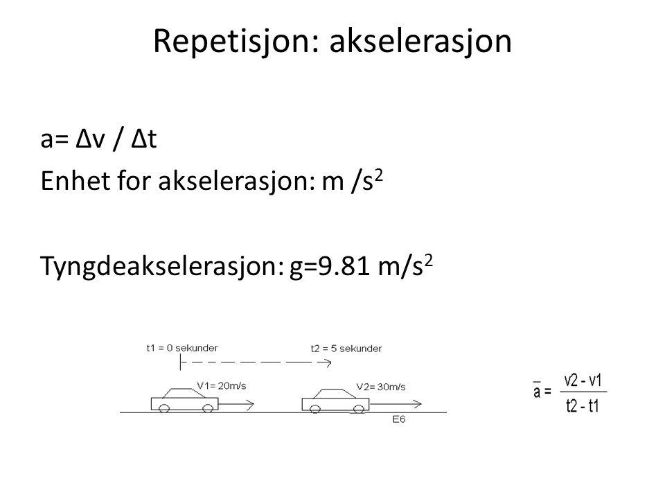 Repetisjon: akselerasjon a= ∆v / ∆t Enhet for akselerasjon: m /s 2 Tyngdeakselerasjon: g=9.81 m/s 2