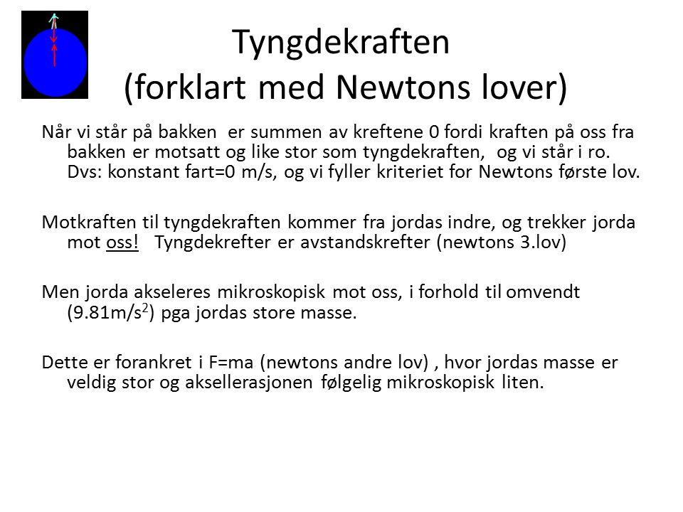 Tyngdekraften (forklart med Newtons lover) Når vi står på bakken er summen av kreftene 0 fordi kraften på oss fra bakken er motsatt og like stor som t