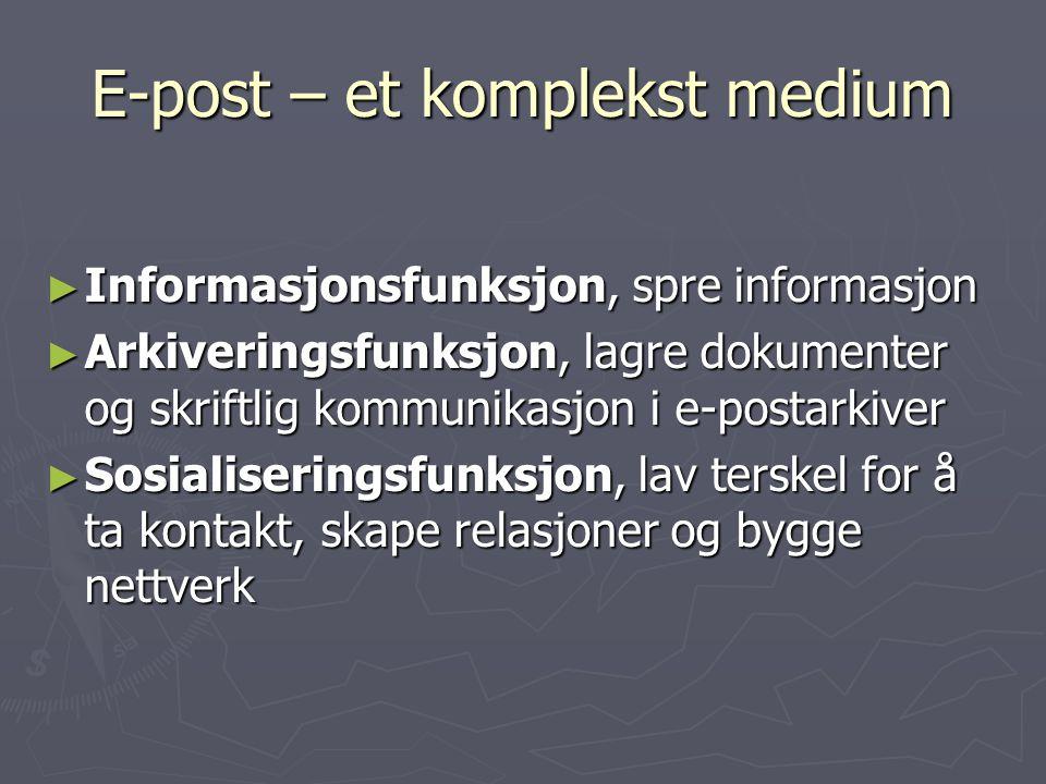 E-post – et komplekst medium ► Informasjonsfunksjon, spre informasjon ► Arkiveringsfunksjon, lagre dokumenter og skriftlig kommunikasjon i e-postarkiv