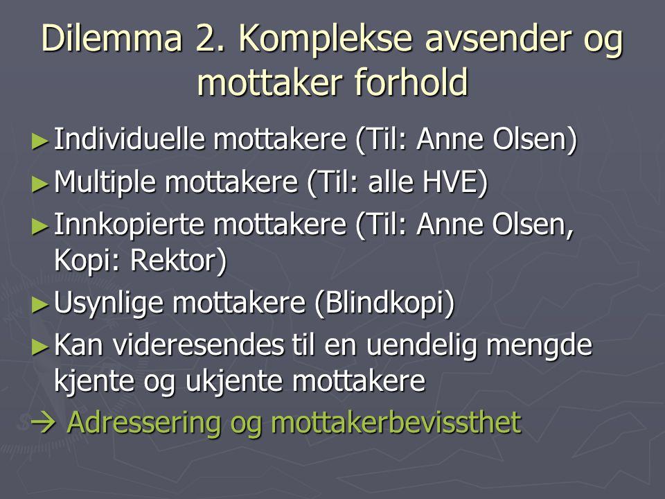 Dilemma 2. Komplekse avsender og mottaker forhold ► Individuelle mottakere (Til: Anne Olsen) ► Multiple mottakere (Til: alle HVE) ► Innkopierte mottak