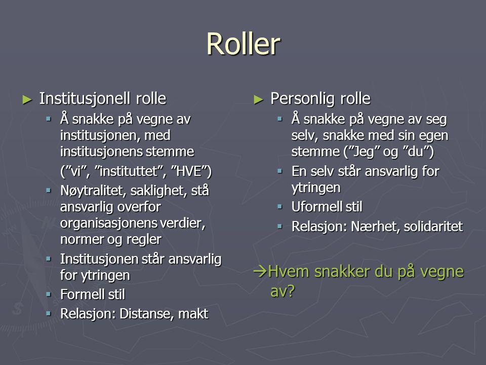 """Roller ► Institusjonell rolle  Å snakke på vegne av institusjonen, med institusjonens stemme (""""vi"""", """"instituttet"""", """"HVE"""") (""""vi"""", """"instituttet"""", """"HVE"""""""