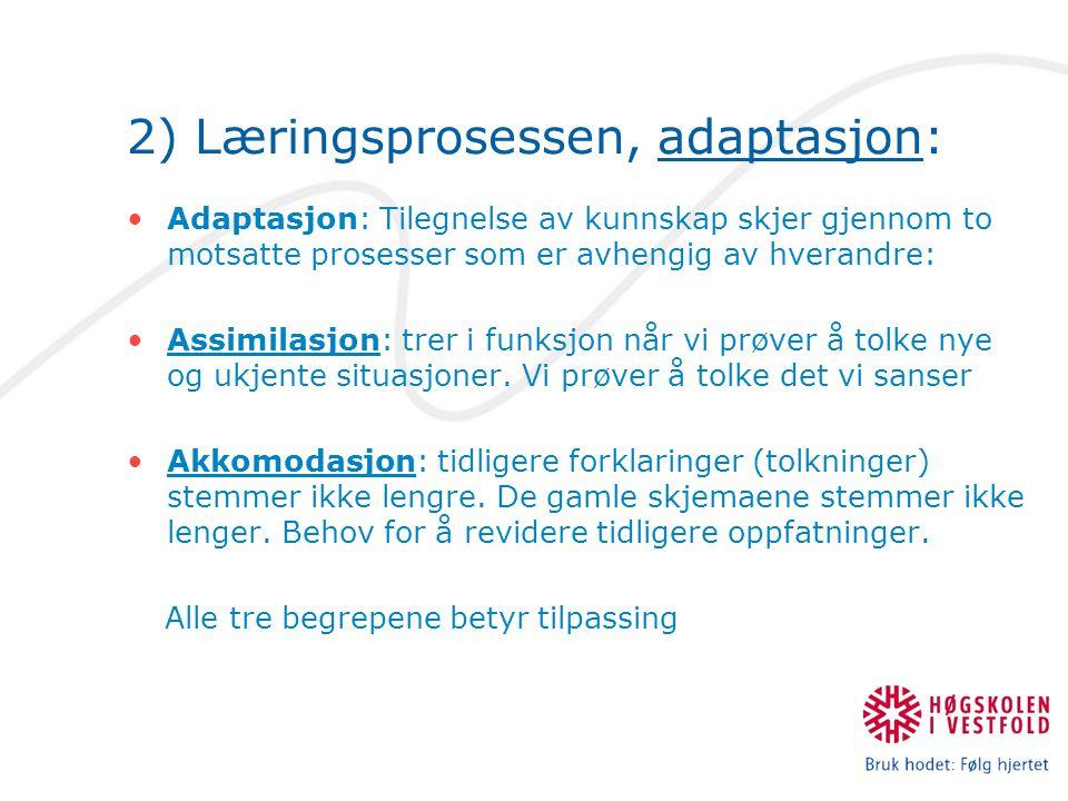 2) Læringsprosessen, adaptasjon: Adaptasjon: Tilegnelse av kunnskap skjer gjennom to motsatte prosesser som er avhengig av hverandre: Assimilasjon: trer i funksjon når vi prøver å tolke nye og ukjente situasjoner.
