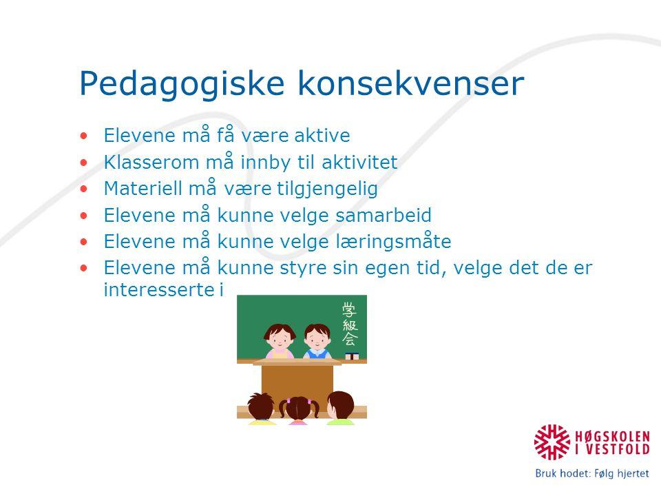 Pedagogiske konsekvenser Elevene må få være aktive Klasserom må innby til aktivitet Materiell må være tilgjengelig Elevene må kunne velge samarbeid Elevene må kunne velge læringsmåte Elevene må kunne styre sin egen tid, velge det de er interesserte i