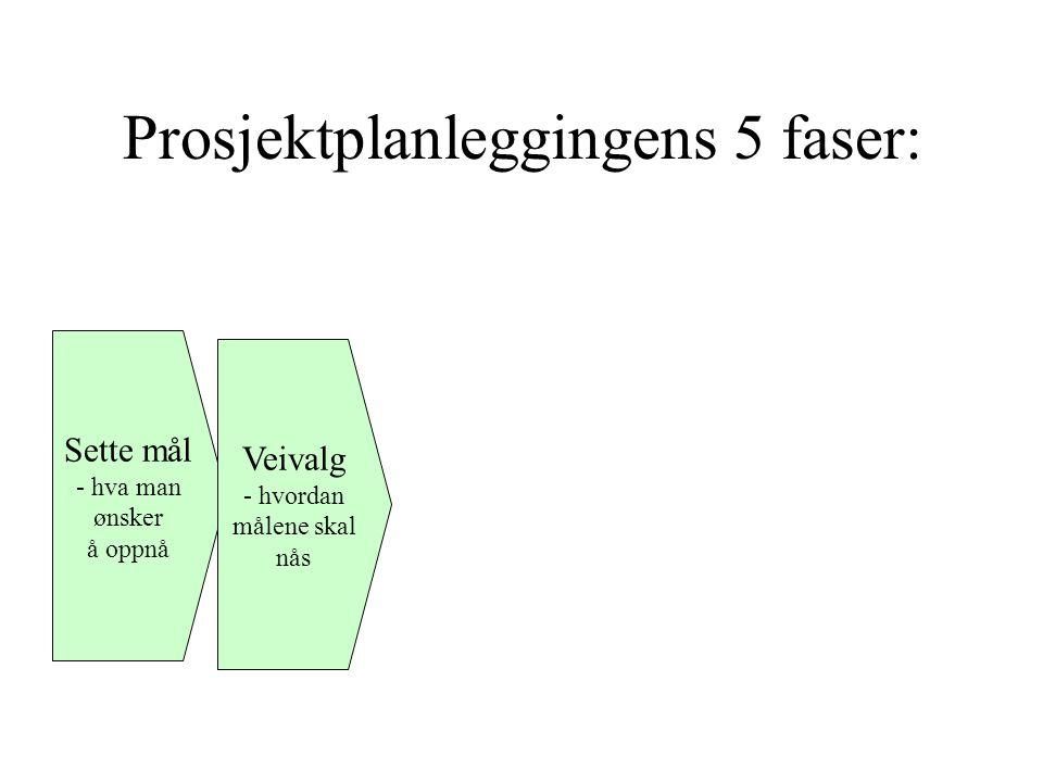 Prosjektplanleggingens 5 faser: Sette mål - hva man ønsker å oppnå Veivalg - hvordan målene skal nås