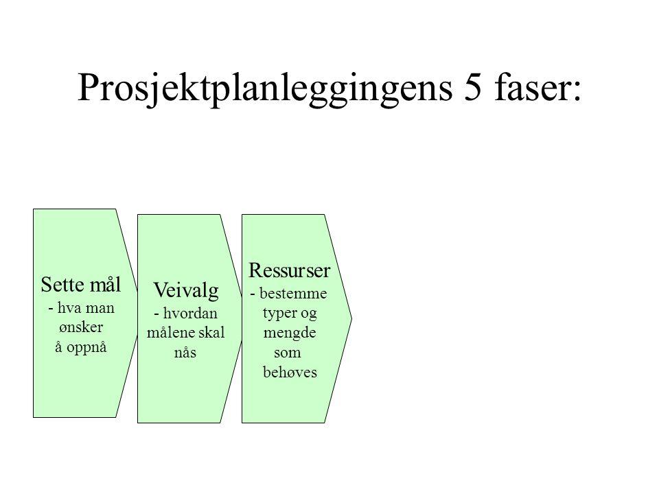 Prosjektplanleggingens 5 faser: Sette mål - hva man ønsker å oppnå Veivalg - hvordan målene skal nås Ressurser - bestemme typer og mengde som behøves