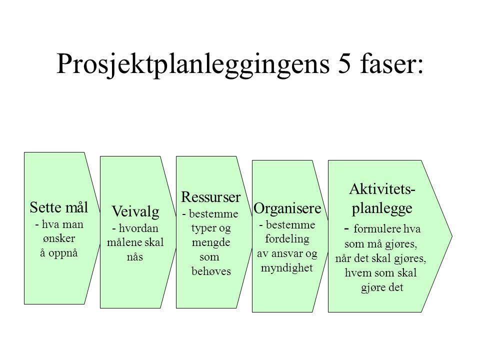 Prosjektplanleggingens 5 faser: Sette mål - hva man ønsker å oppnå Veivalg - hvordan målene skal nås Ressurser - bestemme typer og mengde som behøves Organisere - bestemme fordeling av ansvar og myndighet Aktivitets- planlegge - formulere hva som må gjøres, når det skal gjøres, hvem som skal gjøre det