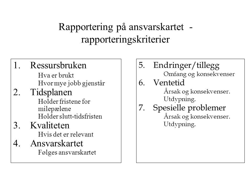 Rapportering på ansvarskartet - rapporteringskriterier 1.