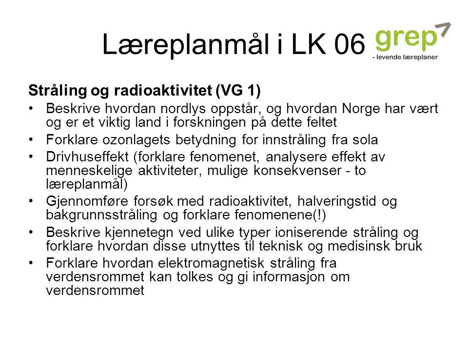Læreplanmål i LK 06 Stråling og radioaktivitet (VG 1) Beskrive hvordan nordlys oppstår, og hvordan Norge har vært og er et viktig land i forskningen p
