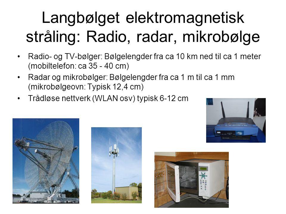 Langbølget elektromagnetisk stråling: Radio, radar, mikrobølge Radio- og TV-bølger: Bølgelengder fra ca 10 km ned til ca 1 meter (mobiltelefon: ca 35