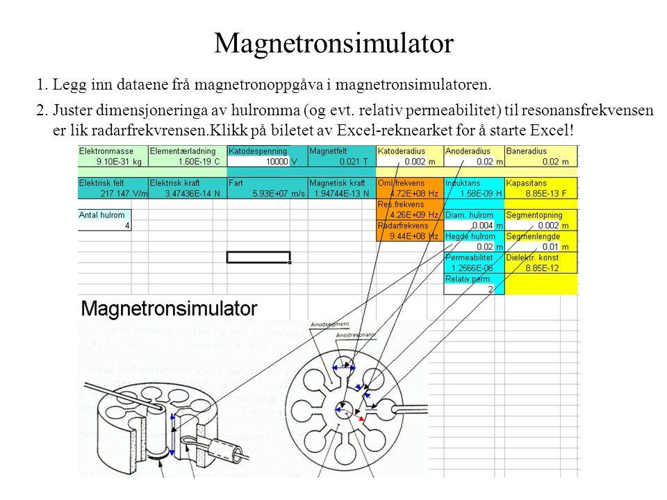 Magnetronsimulator 1. Legg inn dataene frå magnetronoppgåva i magnetronsimulatoren.