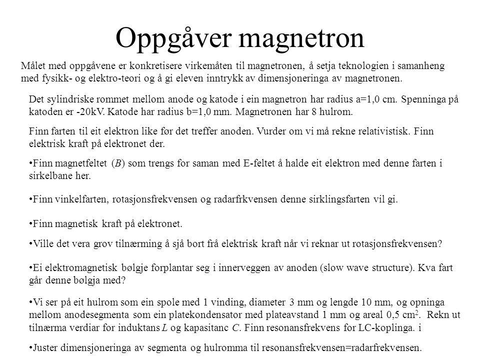 Oppgåver magnetron Juster dimensjoneringa av segmenta og hulromma til resonansfrekvensen=radarfrekvensen.