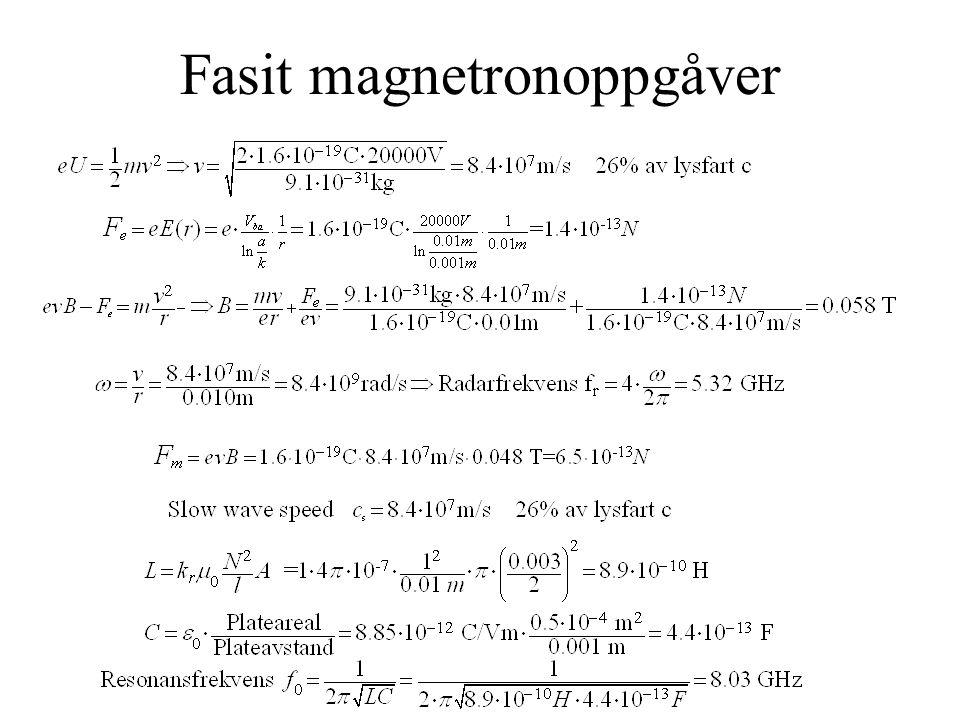 Magnetronsimulator 1.Legg inn dataene frå magnetronoppgåva i magnetronsimulatoren.