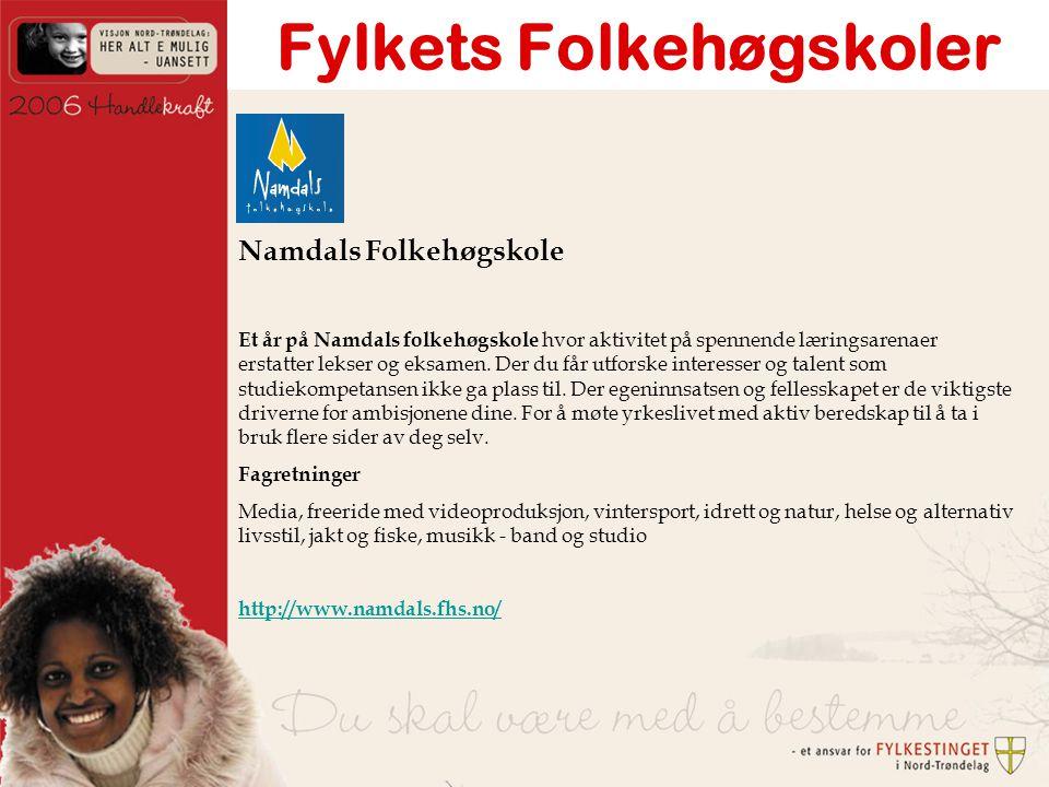 Fylkets Folkehøgskoler Namdals Folkehøgskole Et år på Namdals folkehøgskole hvor aktivitet på spennende læringsarenaer erstatter lekser og eksamen.