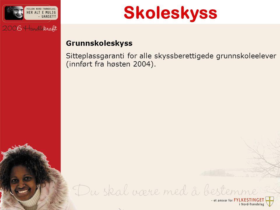 Skoleskyss Grunnskoleskyss Sitteplassgaranti for alle skyssberettigede grunnskoleelever (innført fra høsten 2004).