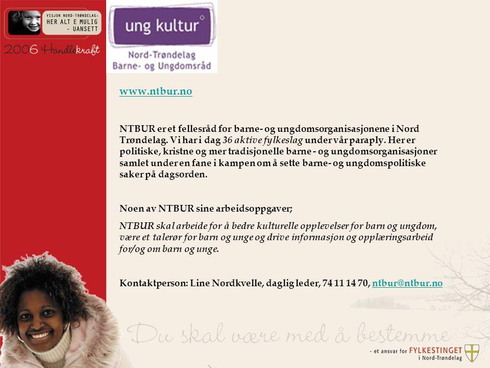 www.ntbur.no NTBUR er et fellesråd for barne- og ungdomsorganisasjonene i Nord Trøndelag.