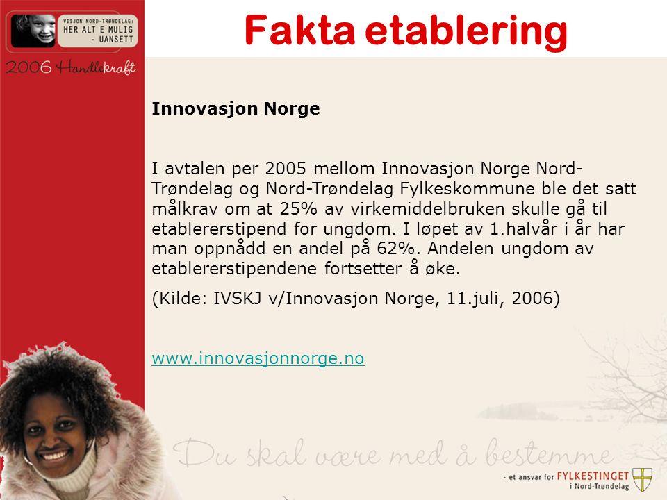 Fakta etablering Innovasjon Norge I avtalen per 2005 mellom Innovasjon Norge Nord- Trøndelag og Nord-Trøndelag Fylkeskommune ble det satt målkrav om at 25% av virkemiddelbruken skulle gå til etablererstipend for ungdom.