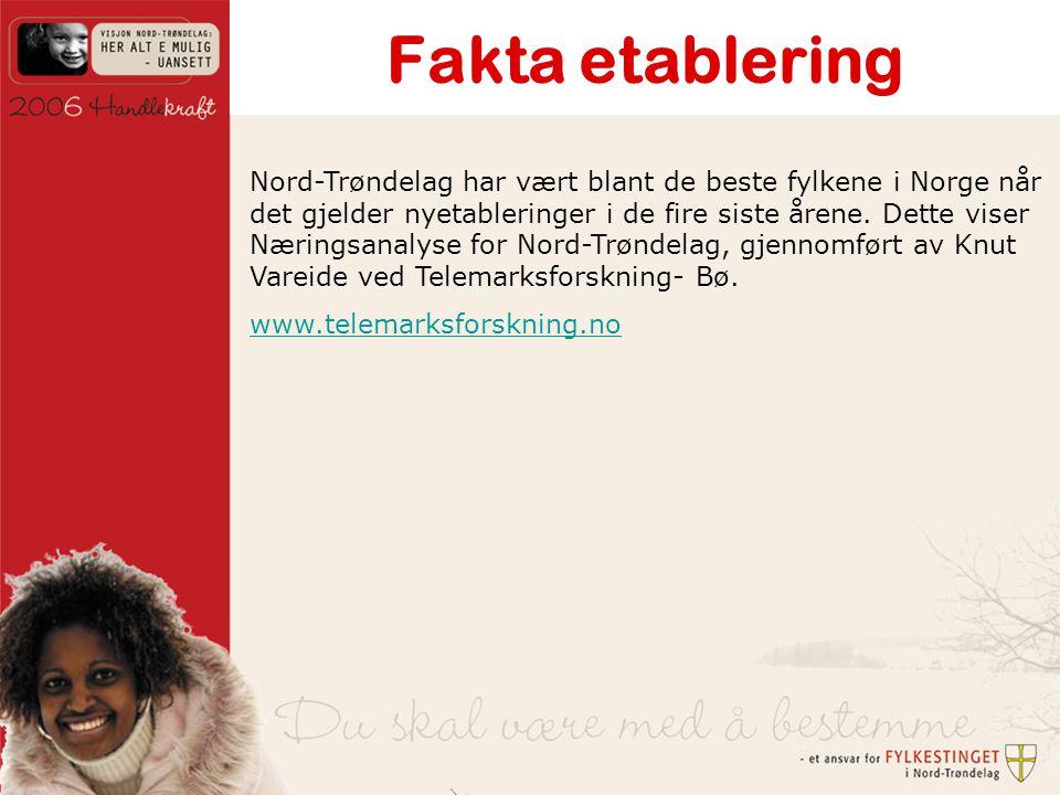 Fakta etablering Nord-Trøndelag har vært blant de beste fylkene i Norge når det gjelder nyetableringer i de fire siste årene.