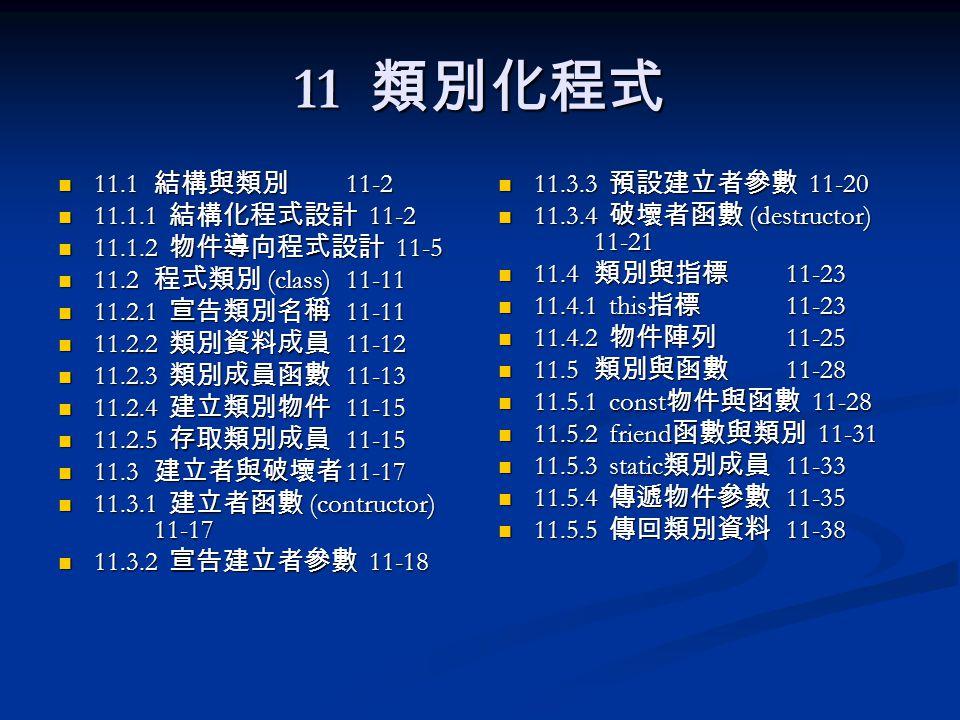 11 類別化程式 11.1 結構與類別 11-2 11.1 結構與類別 11-2 11.1.1 結構化程式設計 11-2 11.1.1 結構化程式設計 11-2 11.1.2 物件導向程式設計 11-5 11.1.2 物件導向程式設計 11-5 11.2 程式類別 (class)11-11 11.2 程式類別 (class)11-11 11.2.1 宣告類別名稱 11-11 11.2.1 宣告類別名稱 11-11 11.2.2 類別資料成員 11-12 11.2.2 類別資料成員 11-12 11.2.3 類別成員函數 11-13 11.2.3 類別成員函數 11-13 11.2.4 建立類別物件 11-15 11.2.4 建立類別物件 11-15 11.2.5 存取類別成員 11-15 11.2.5 存取類別成員 11-15 11.3 建立者與破壞者 11-17 11.3 建立者與破壞者 11-17 11.3.1 建立者函數 (contructor) 11-17 11.3.1 建立者函數 (contructor) 11-17 11.3.2 宣告建立者參數 11-18 11.3.2 宣告建立者參數 11-18 11.3.3 預設建立者參數 11-20 11.3.4 破壞者函數 (destructor) 11-21 11.4 類別與指標 11-23 11.4.1 this 指標 11-23 11.4.2 物件陣列 11-25 11.5 類別與函數 11-28 11.5.1 const 物件與函數 11-28 11.5.2 friend 函數與類別 11-31 11.5.3 static 類別成員 11-33 11.5.4 傳遞物件參數 11-35 11.5.5 傳回類別資料 11-38
