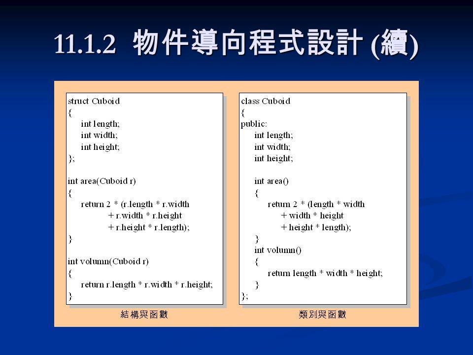 11.5.1 const 物件與函數 const 類別名稱物件名稱 ( 參數列 ); const 類別名稱物件名稱 ( 參數列 ); 範例 範例 class Employee { int EmpId; char name[20]; public: Employee(int e, char n[])// 定義建立者函數 { EmpId = e;// 指定 EmpId 初值 strcpy(name, n);// 指定 name 初值 }