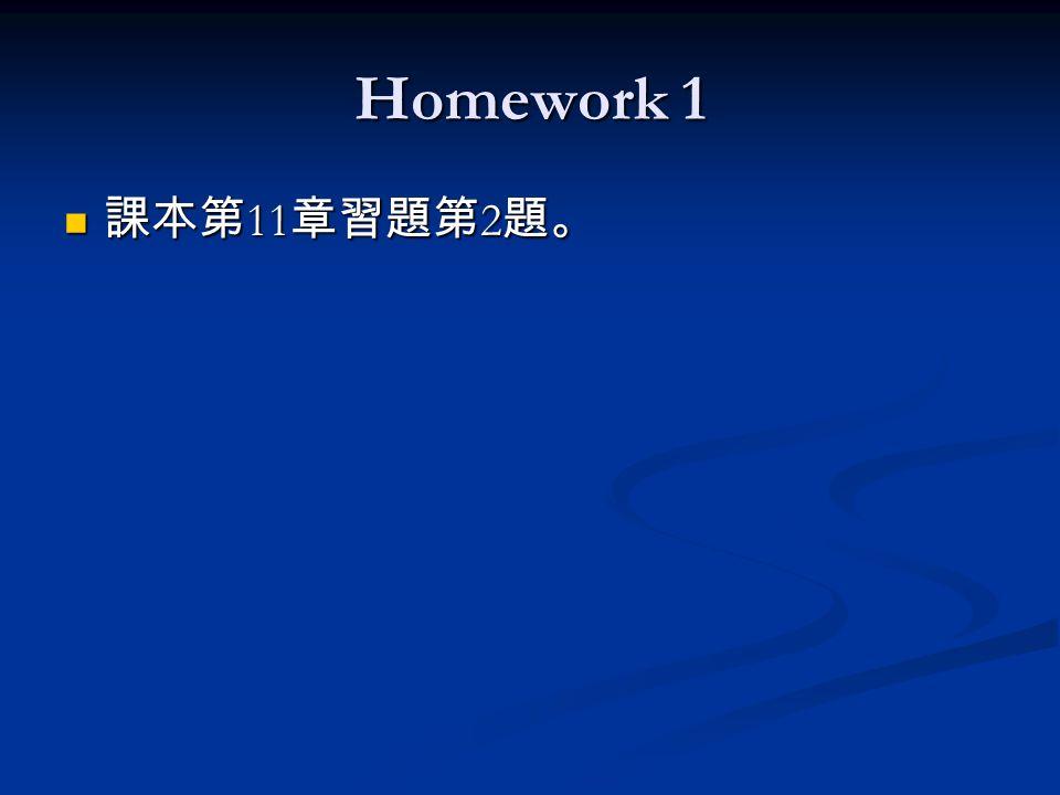 Homework 1 課本第 11 章習題第 2 題。 課本第 11 章習題第 2 題。