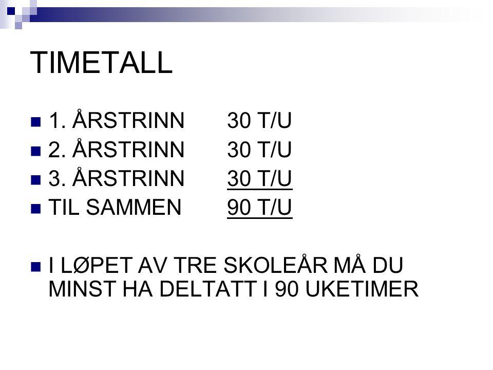 TIMETALL 1. ÅRSTRINN30 T/U 2. ÅRSTRINN30 T/U 3.