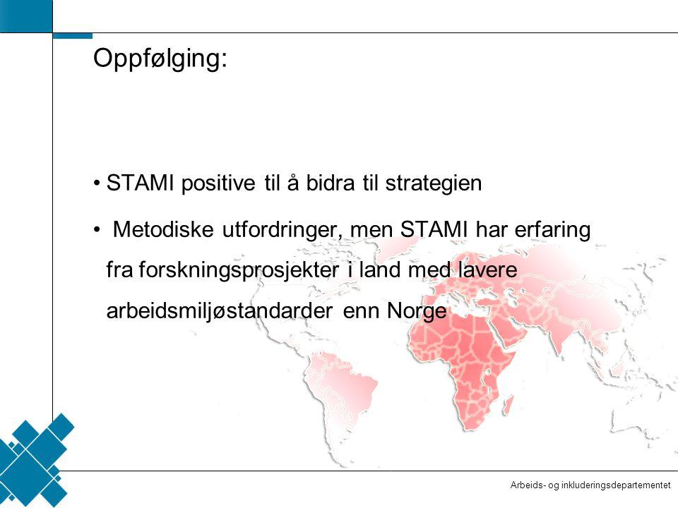 Arbeids- og inkluderingsdepartementet  Tittelfelt   Innholdsfelt  AID standard Oppfølging: STAMI positive til å bidra til strategien Metodiske utfordringer, men STAMI har erfaring fra forskningsprosjekter i land med lavere arbeidsmiljøstandarder enn Norge