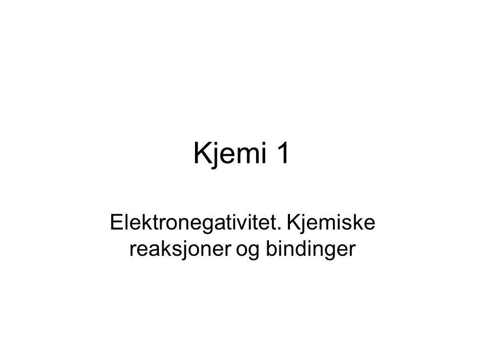 Kjemi 1 Elektronegativitet. Kjemiske reaksjoner og bindinger