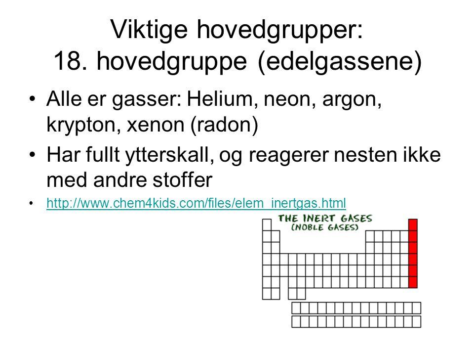 Viktige hovedgrupper: 18. hovedgruppe (edelgassene) Alle er gasser: Helium, neon, argon, krypton, xenon (radon) Har fullt ytterskall, og reagerer nest