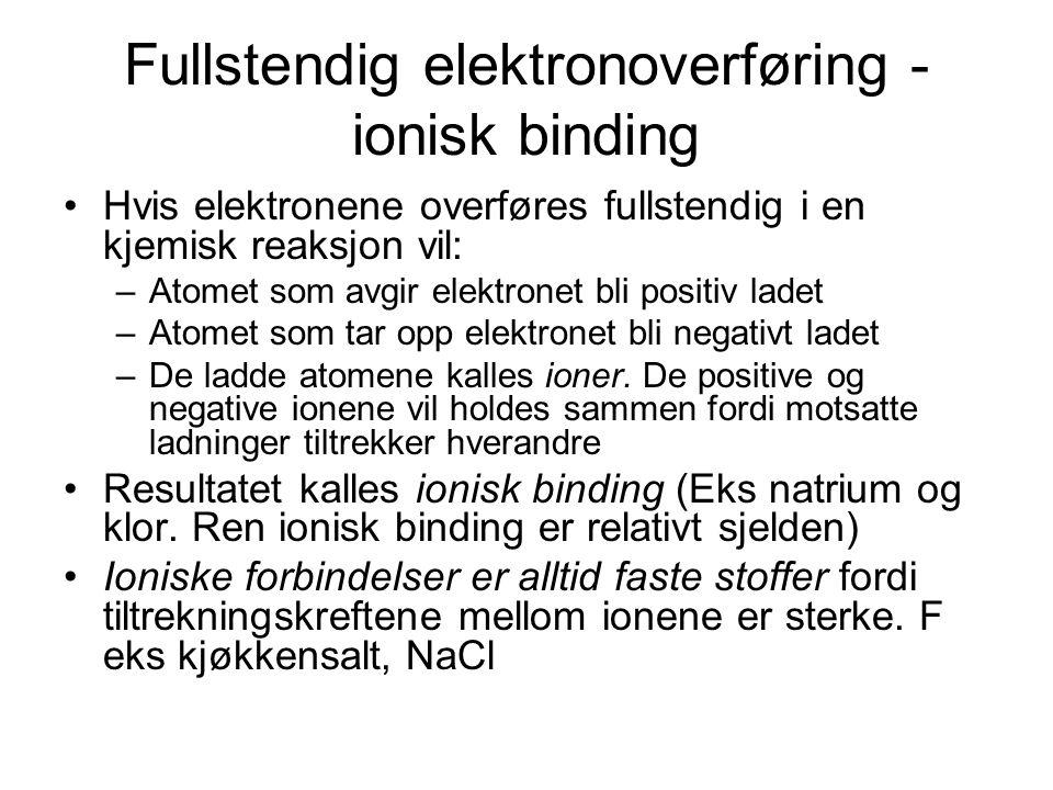 Fullstendig elektronoverføring - ionisk binding Hvis elektronene overføres fullstendig i en kjemisk reaksjon vil: –Atomet som avgir elektronet bli pos