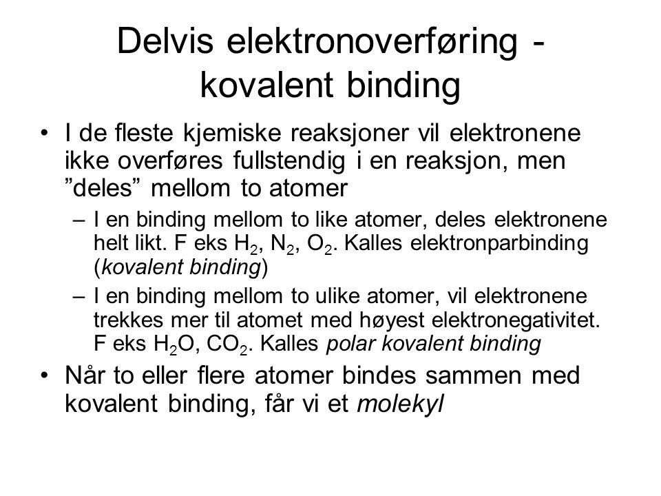 """Delvis elektronoverføring - kovalent binding I de fleste kjemiske reaksjoner vil elektronene ikke overføres fullstendig i en reaksjon, men """"deles"""" mel"""