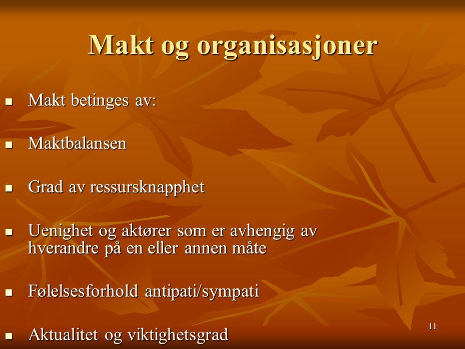 11 Makt og organisasjoner Makt betinges av: Makt betinges av: Maktbalansen Maktbalansen Grad av ressursknapphet Grad av ressursknapphet Uenighet og ak