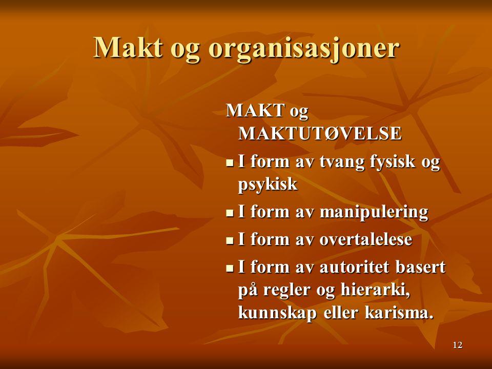 12 Makt og organisasjoner MAKT og MAKTUTØVELSE I form av tvang fysisk og psykisk I form av manipulering I form av overtalelese I form av autoritet bas