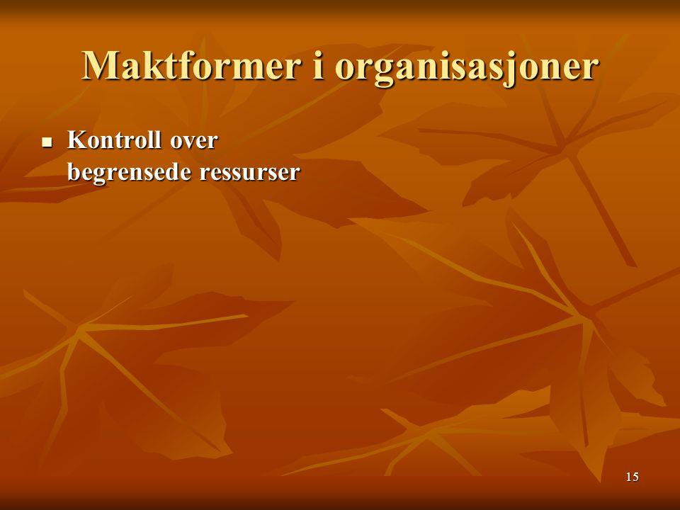 15 Maktformer i organisasjoner Kontroll over begrensede ressurser Kontroll over begrensede ressurser