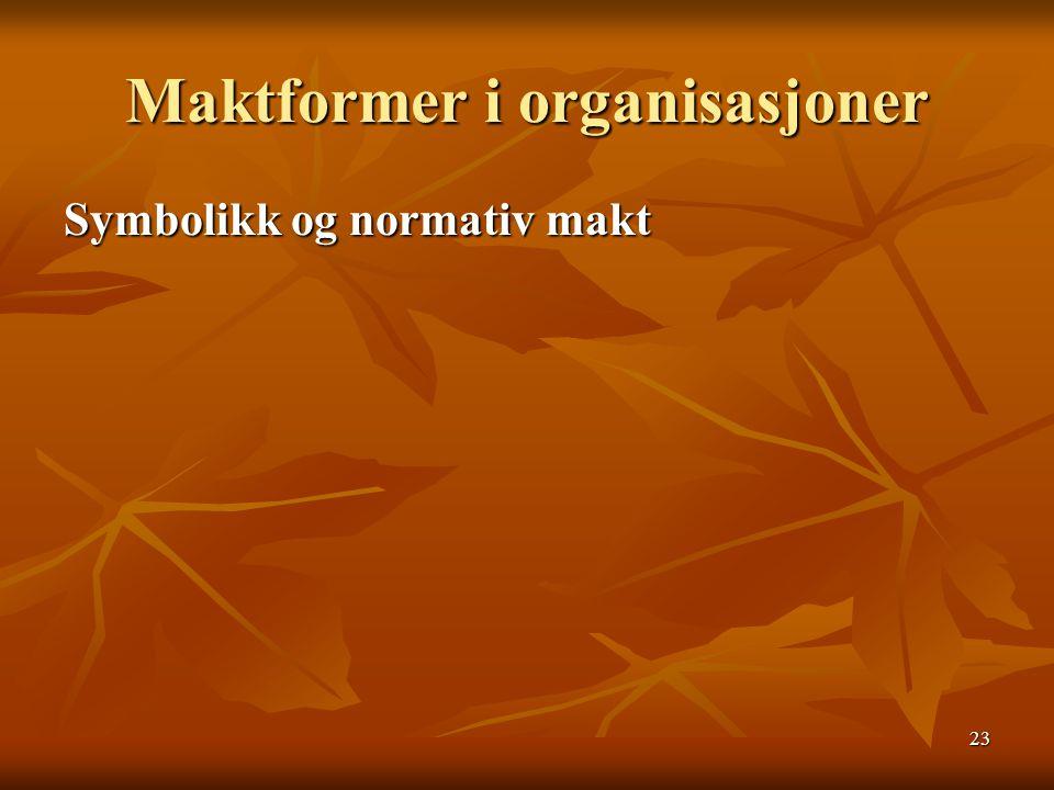 23 Maktformer i organisasjoner Symbolikk og normativ makt